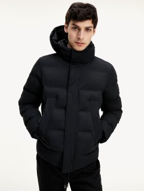 TOMMY PADDED HOODED STRETCH BOMBER JACKET