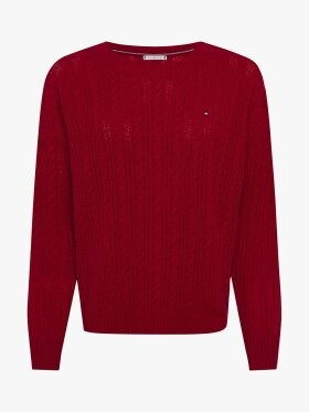 TOMMY CABLE KNIT CREW NECK JUMPER